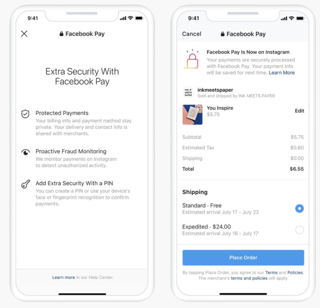Nouveauté Instagram 2020, Facebook Pay