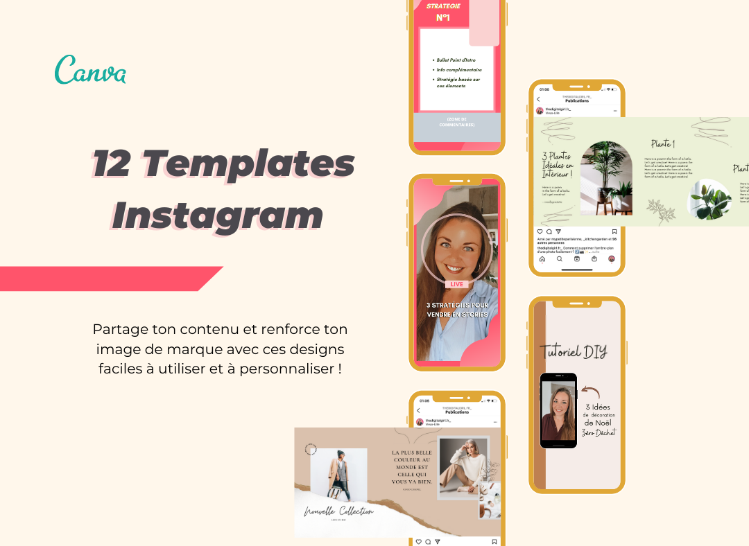 Templates Instagram Personnalisables sur Canva